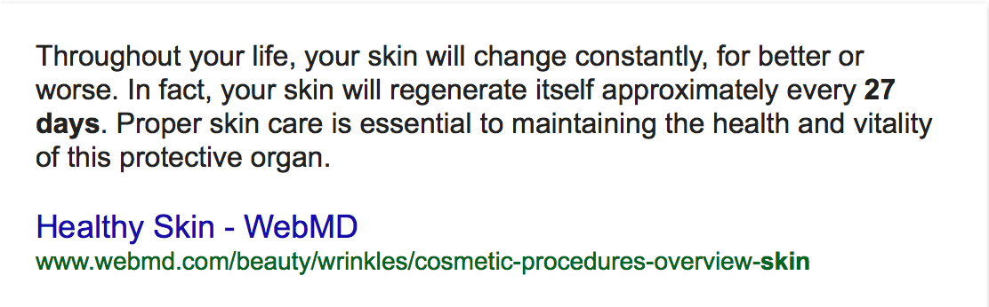27 days to repair damaged skin