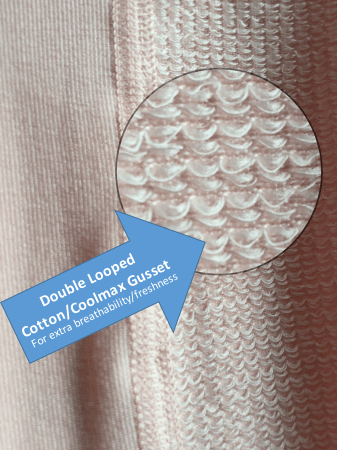 double looped cotton coolmax gusset