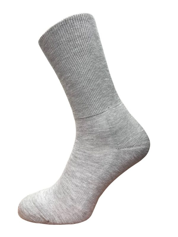 wide fit mid calf socks grey cushioned sole gentle elasticated top