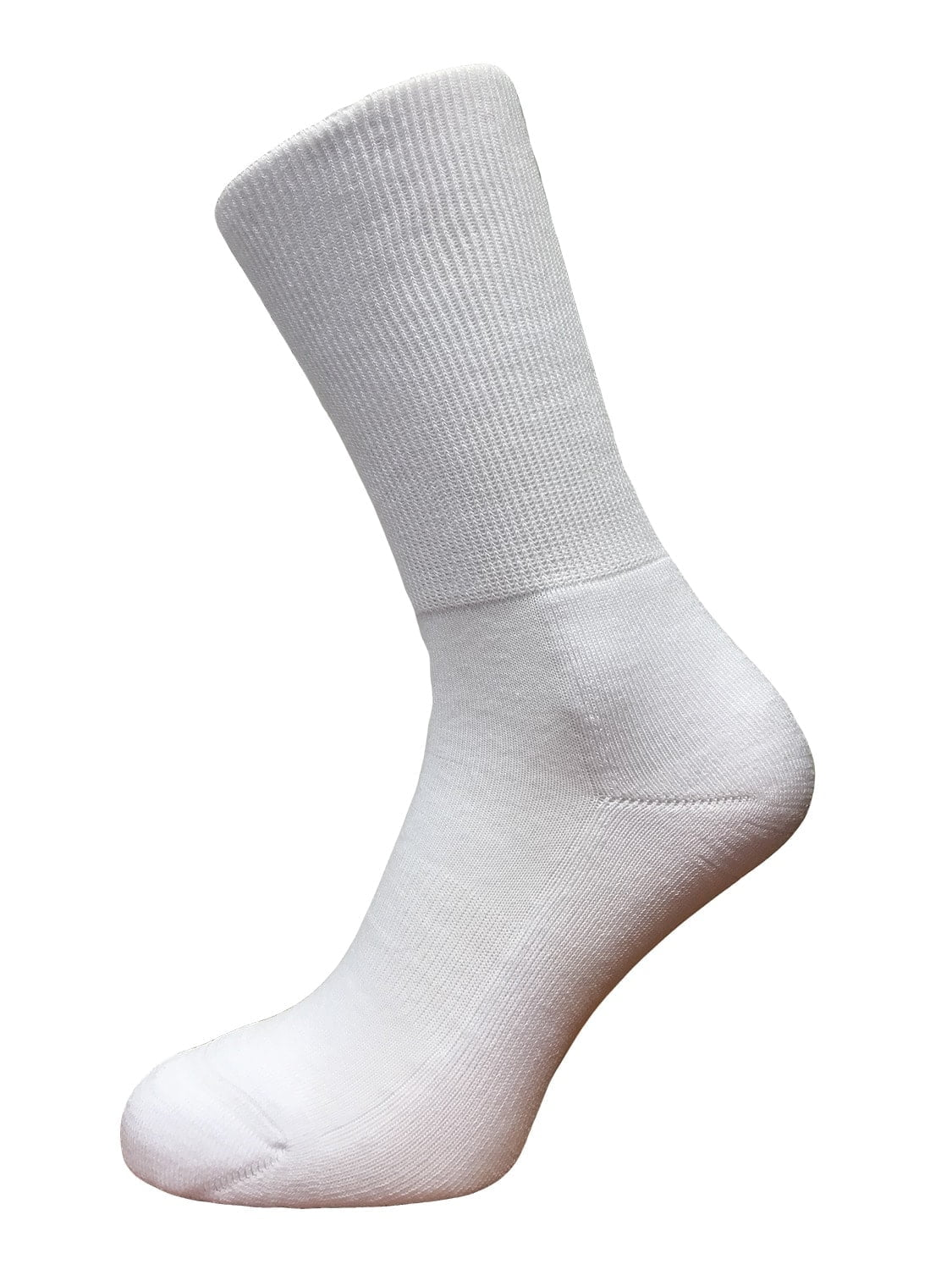 white mid calf cushioned sole socks wide fit available