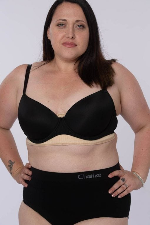 Anti chafing sweat control bra liners nude, black or white. Fits any bra style or cup size