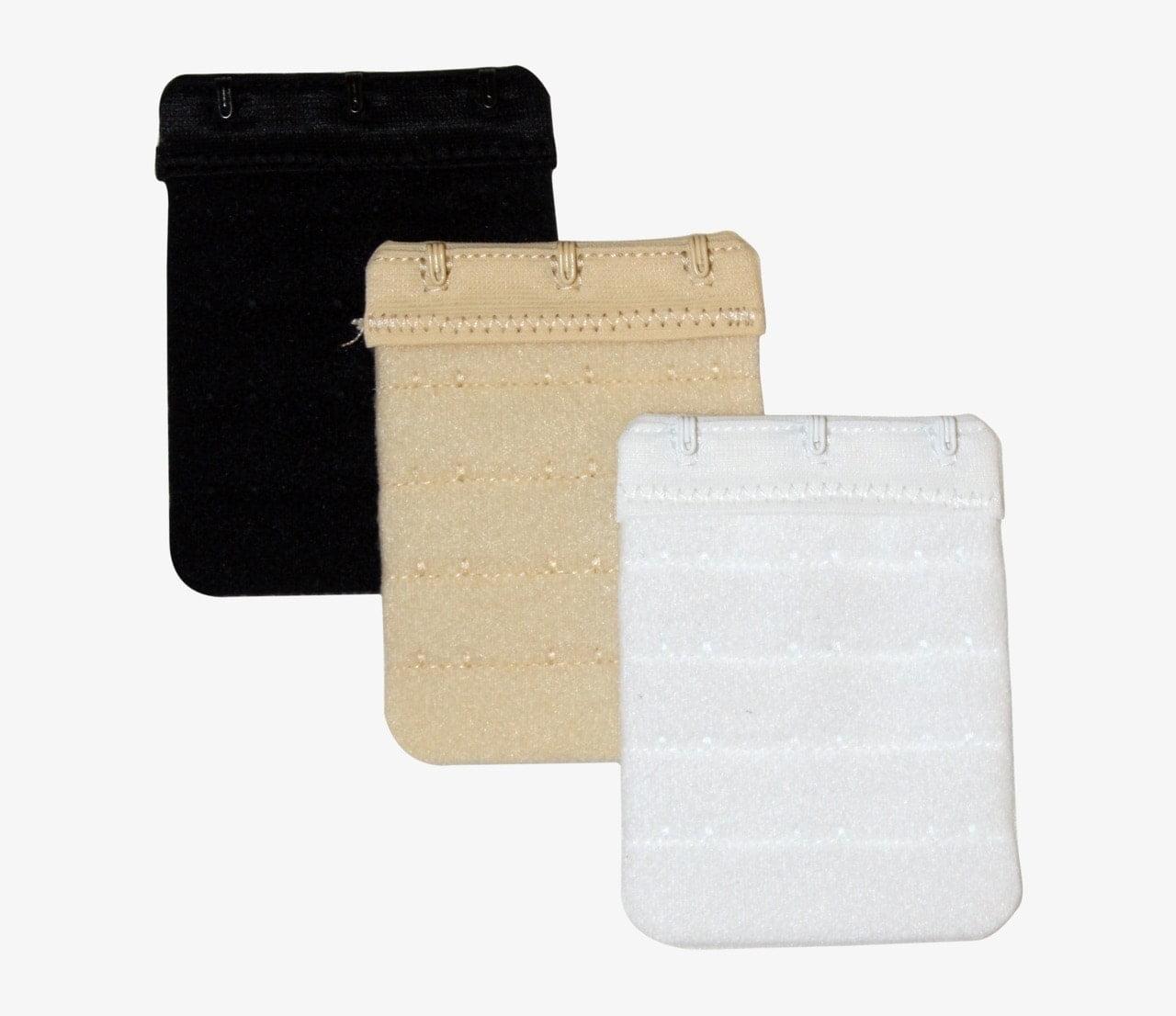 3 hook long bra extender 3 pack black, white, beige