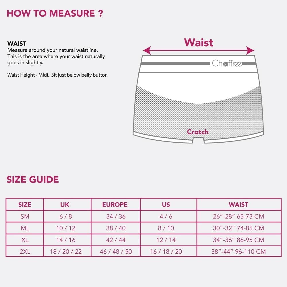 size chart Chaffree boxer briefs