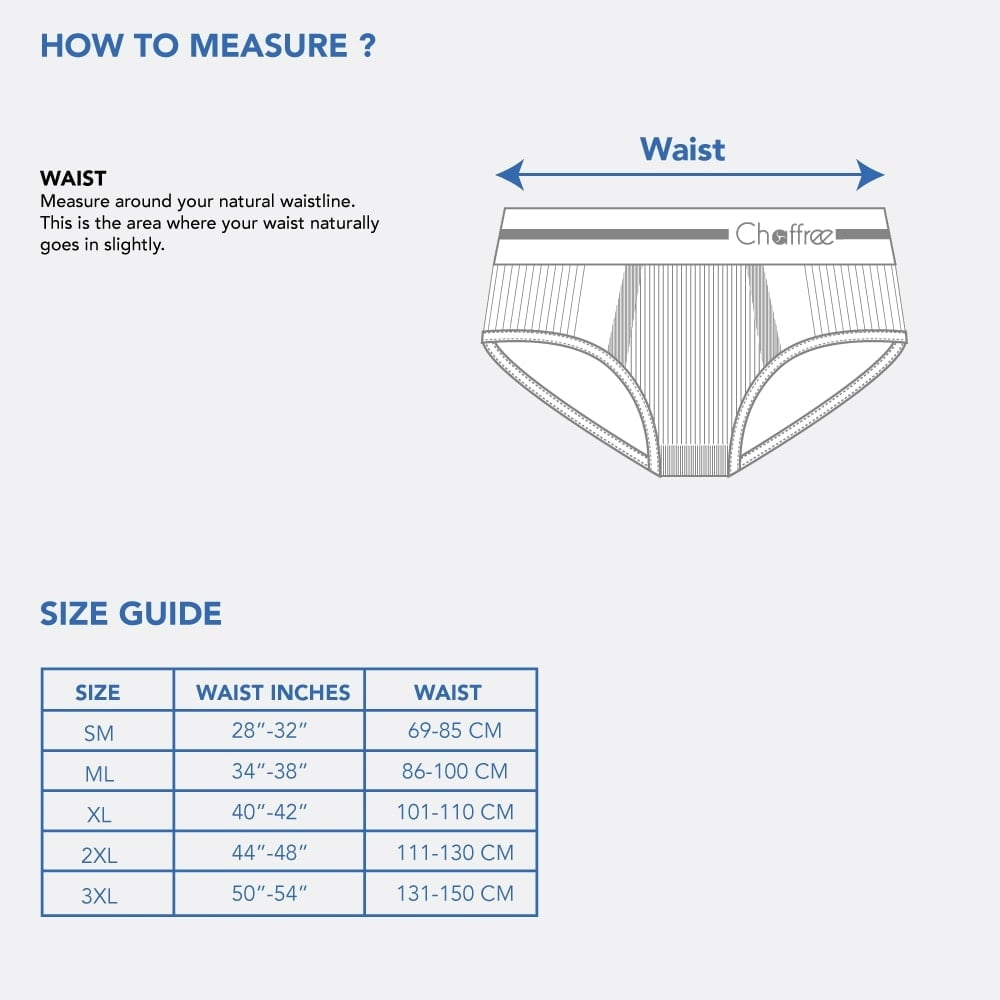 Chaffree Mens Briefs Size Guide