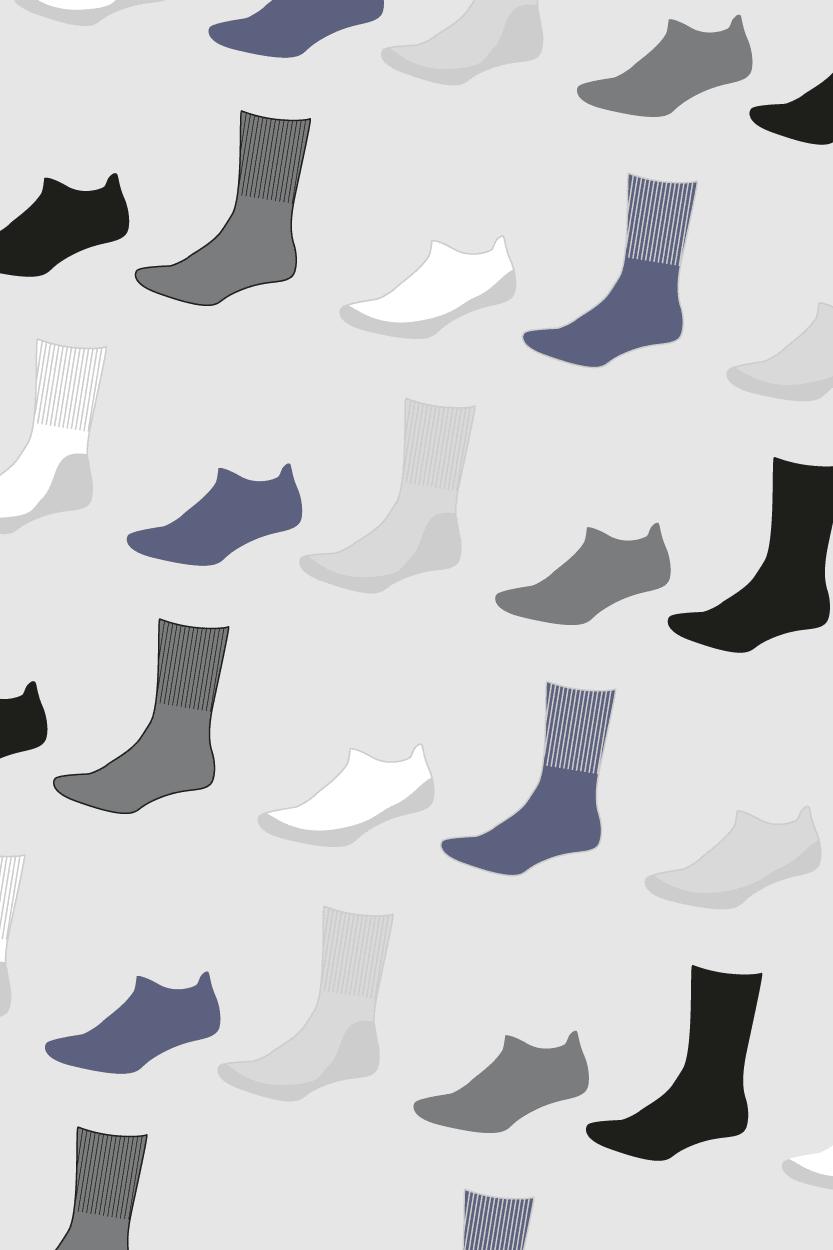 Chaffree cushioned sole sock range. Ankle, mid calf and knee high
