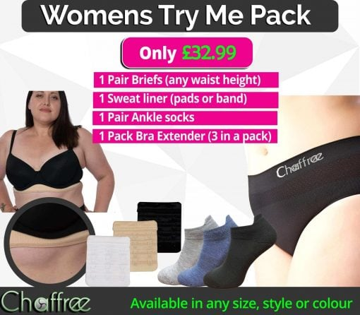 Chaffree TRY ME Pack, briefs, socks, sweat liner and bra extender