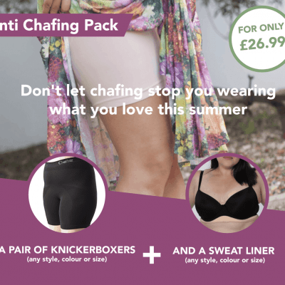 womsn anti chafing boxer shorts and sweat liner