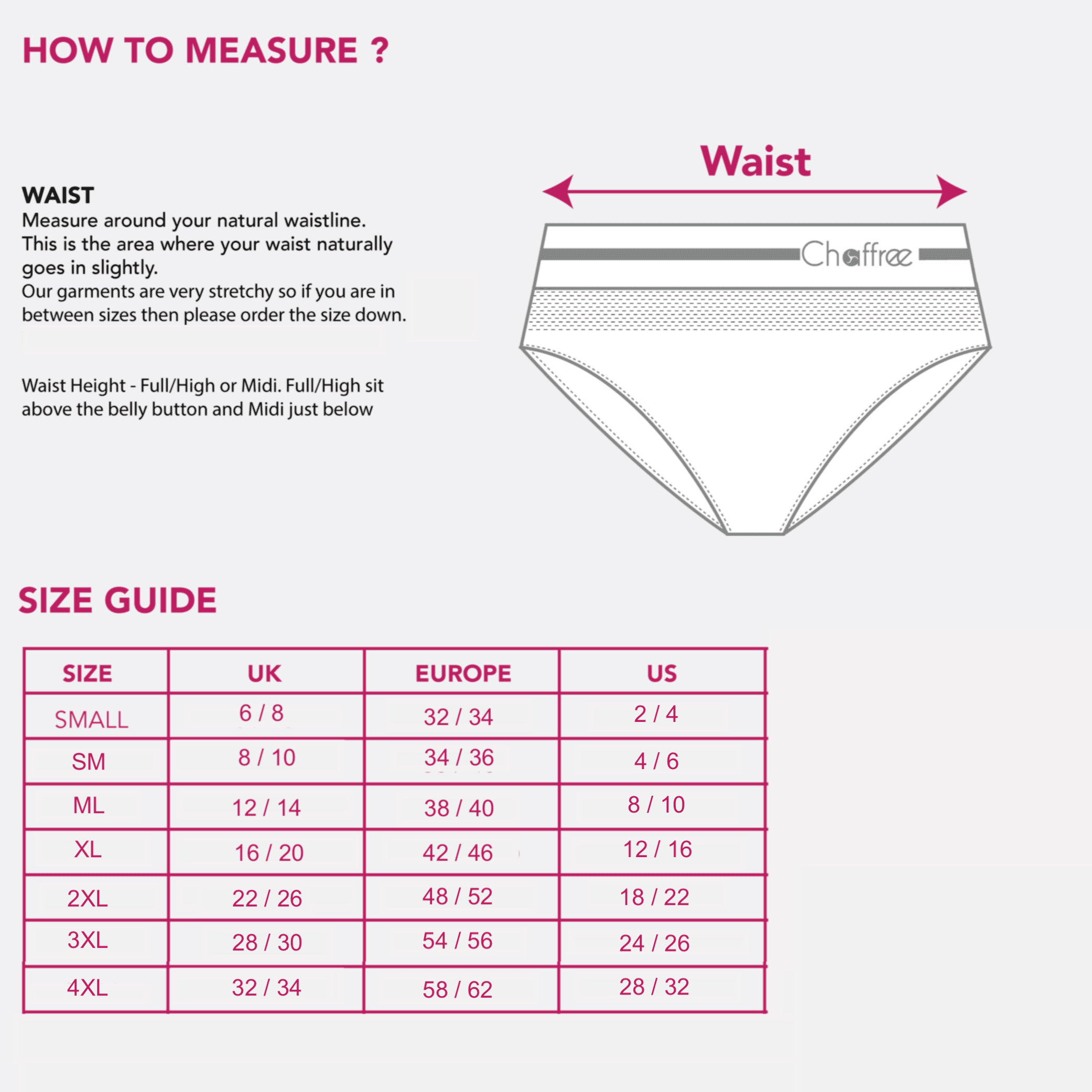 size chart full and midi briefs chaffree